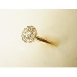 Piękny złoty pierścionek kwiat z brylantami! 0.40 id: 546