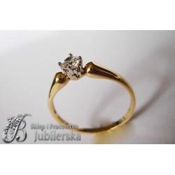 Ekskluzywny pierścionek z brylantem 0.25 ct SI1/H id: 549