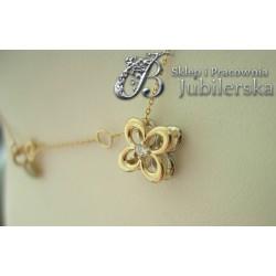 Złoty naszyjnik celebrytka z brylantem Kwiat!0.585 id: 857