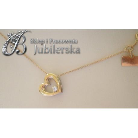 Złoty naszyjnik celebrytka z brylantem serce!0.585 id: 1121