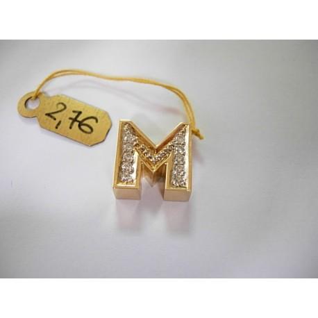 Złota literka M z cyrkoniami id: 153