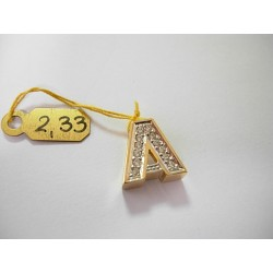 Złota literka A z cyrkoniami id: 157