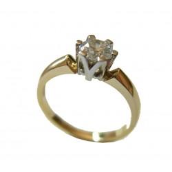 Piękny złoty pierścionek z brylantem 0.55 ct SI1/E id: 1621