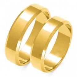 Wspaniałe złote trapezowe obrączki w próbie 585 id: 1645