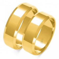 Wspaniałe złote trapezowe obrączki w próbie 585 id: 1647