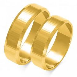 Wspaniałe złote trapezowe diamentowany obrączki w próbie 585 id: 1655