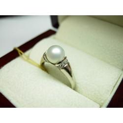 Złoty pierścionek z brylantem i perłą id: 405